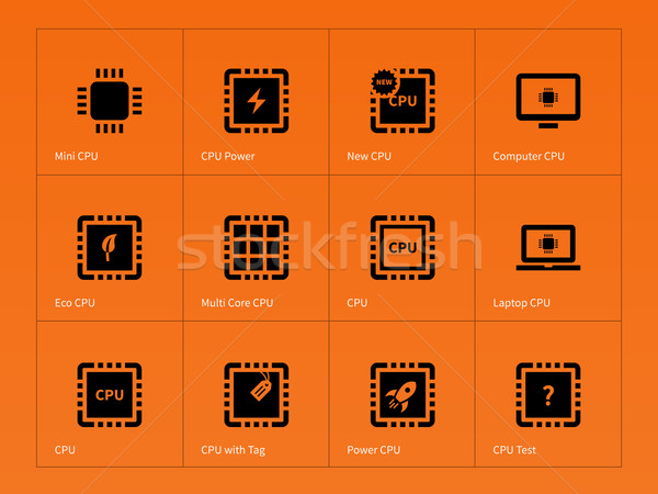 Microchip and microprocessor icons on orange background. Stock photo © tkacchuk
