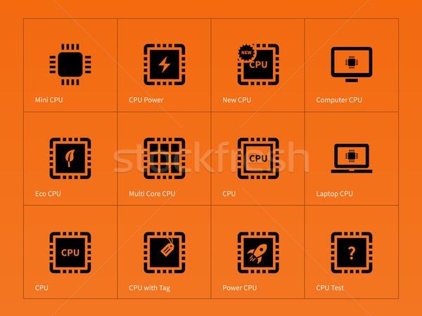 Mikrocsip mikroprocesszor ikonok narancs technológia szolgáltatás Stock fotó © tkacchuk