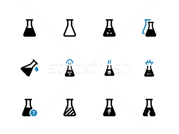Experiment flask duotone icons on white background. Stock photo © tkacchuk