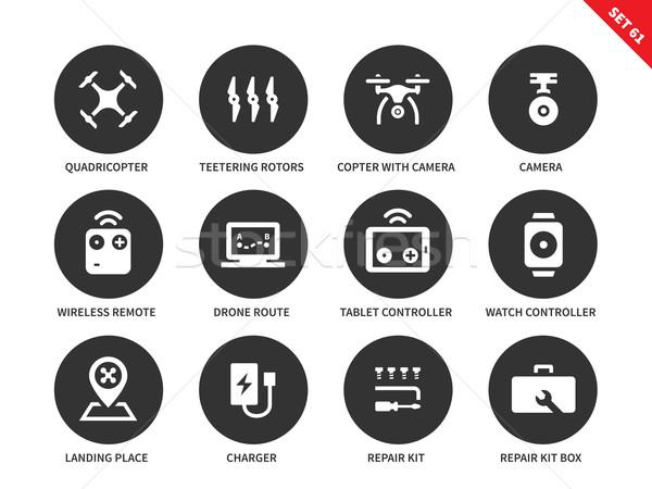 Afstandsbediening iconen witte vliegen vector Stockfoto © tkacchuk