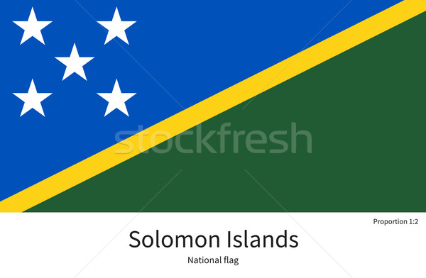 National flag of Solomon Islands with correct proportions, element, colors Stock photo © tkacchuk