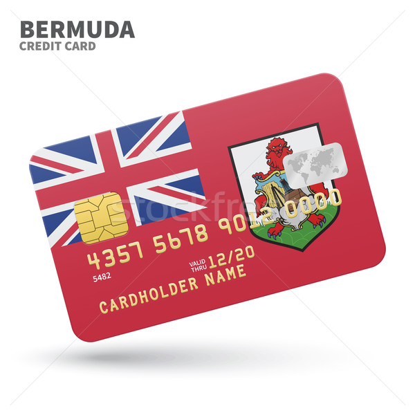 Credit card with Bermuda flag background for bank, presentations and business. Isolated on white Stock photo © tkacchuk