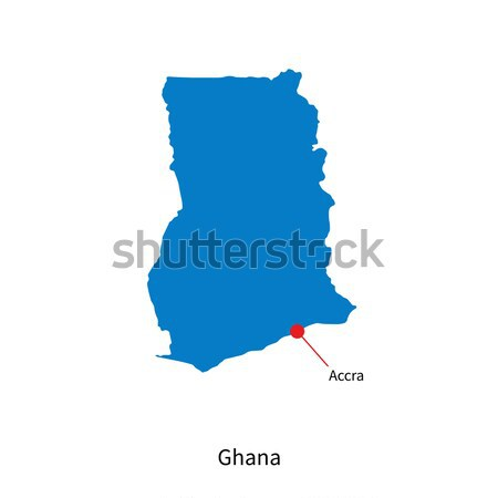 Detailed Vector Map Of Ghana And Capital City Accra Vector - Ghana map vector