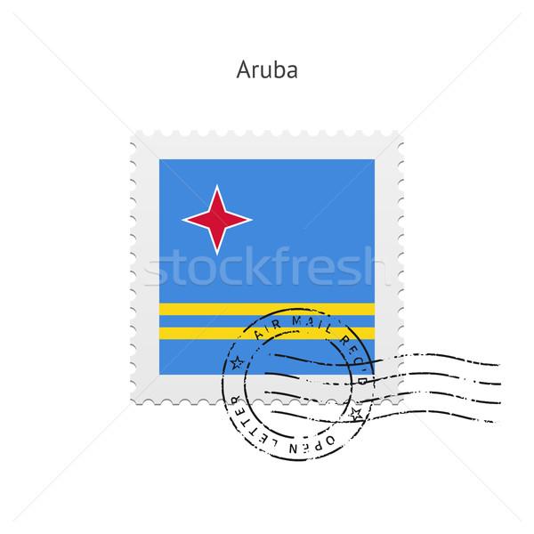 Aruba Flag Postage Stamp. Stock photo © tkacchuk