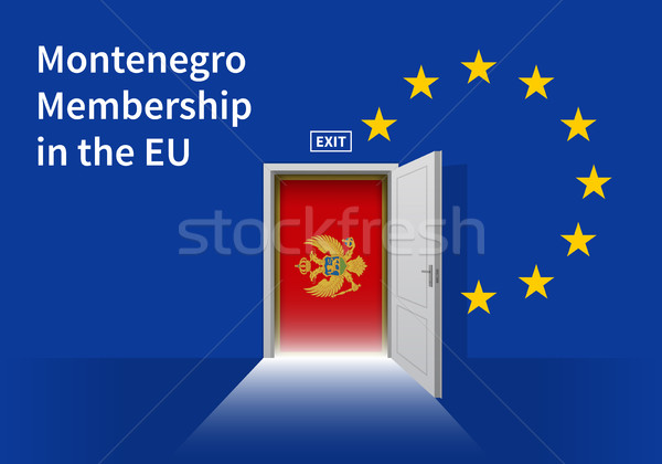 European Union flag wall with Montenegro flag door. EU Flag. Stock photo © tkacchuk