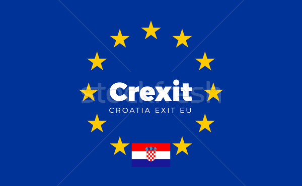 Flag of Croatia on European Union. Crexit - Croatia Exit EU Euro Stock photo © tkacchuk