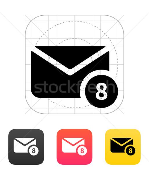 Mail numery ikona biały kopercie znaki Zdjęcia stock © tkacchuk