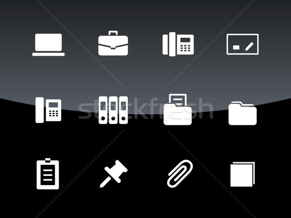 Office icons on black background. Stock photo © tkacchuk