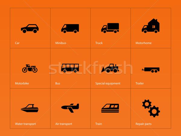 Cars and Transport icons on orange background. Stock photo © tkacchuk