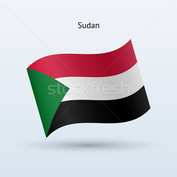 Sudan flag waving form. Vector illustration. Stock photo © tkacchuk