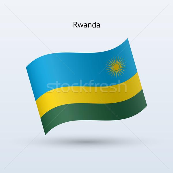 Rwanda flag waving form. Vector illustration. Stock photo © tkacchuk