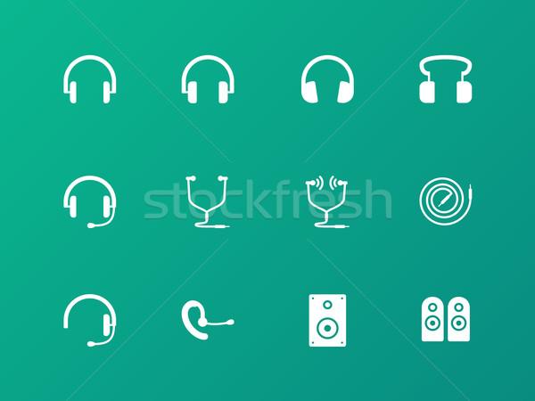 Słuchawki zestawu ikona zielone mikrofon kabel Zdjęcia stock © tkacchuk