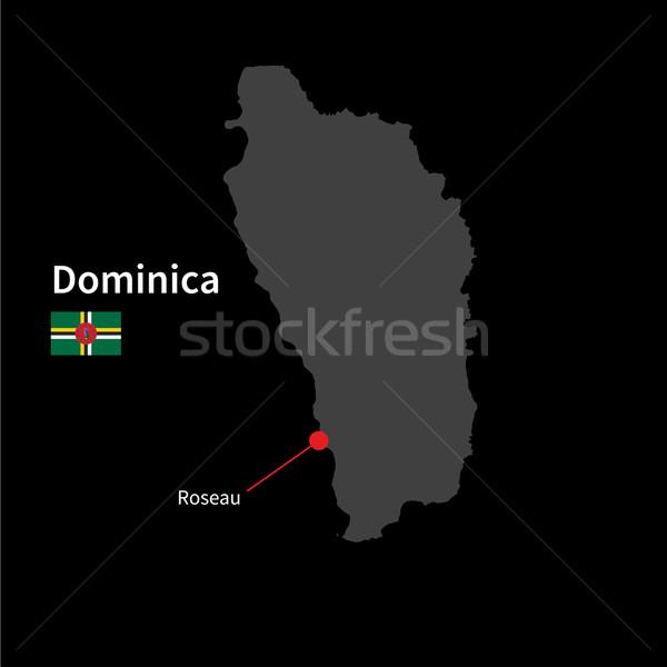 Gedetailleerd kaart Dominica stad vlag zwarte Stockfoto © tkacchuk