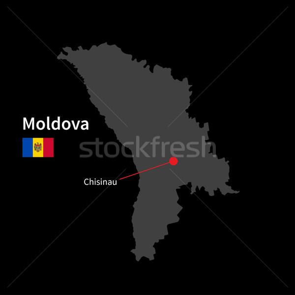 Részletes térkép Moldova város zászló fekete Stock fotó © tkacchuk