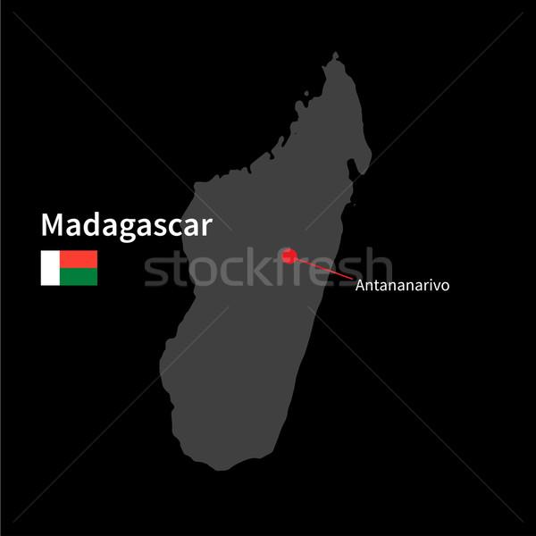 詳しい 地図 マダガスカル 市 フラグ 黒 ストックフォト © tkacchuk
