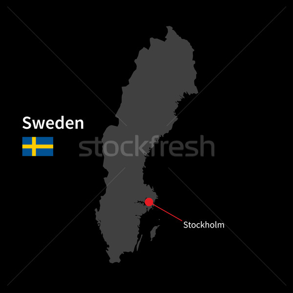Detailed map of Sweden and capital city Stockholm with flag on black background Stock photo © tkacchuk