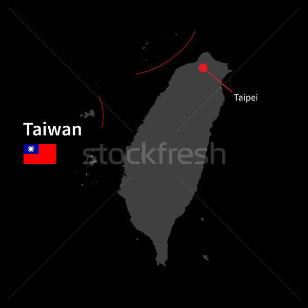 Detailed map of Taiwan and capital city Taipei with flag on black background Stock photo © tkacchuk
