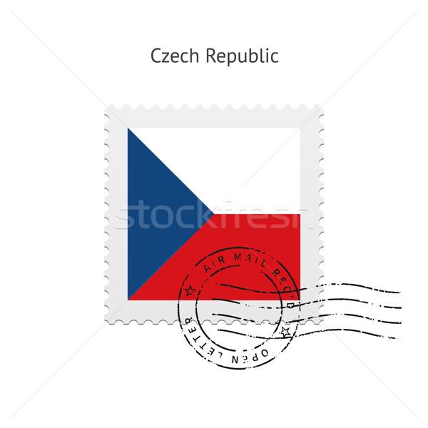 Csehország zászló postabélyeg fehér felirat levél Stock fotó © tkacchuk