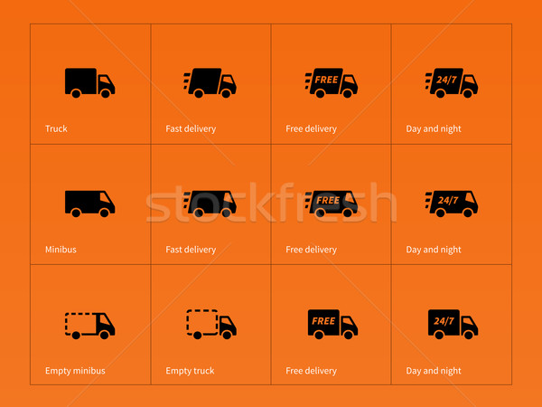 Delivery Trucks icons on orange background. Stock photo © tkacchuk