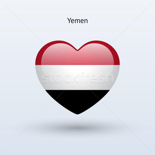 Love Yemen symbol. Heart flag icon. Stock photo © tkacchuk