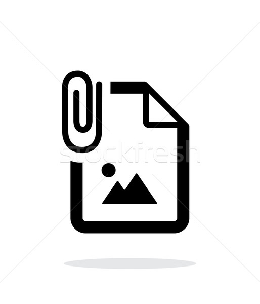 Attached Photo file icon on white background. Stock photo © tkacchuk