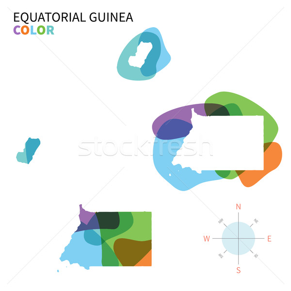 Abstract vector color map of Equatorial Guinea with transparent paint effect. Stock photo © tkacchuk