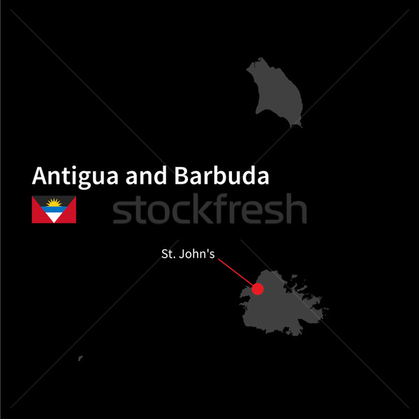 Detailed map of Antigua and Barbuda and capital city St. John's with flag on black background Stock photo © tkacchuk