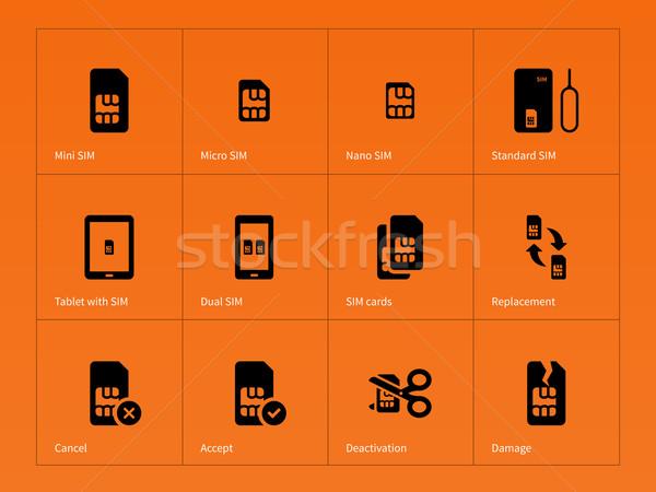 Netzwerk Karten Symbole orange Telefon Zeichen Stock foto © tkacchuk