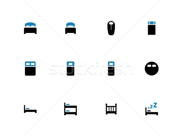Bed duotone icons on white background. Stock photo © tkacchuk