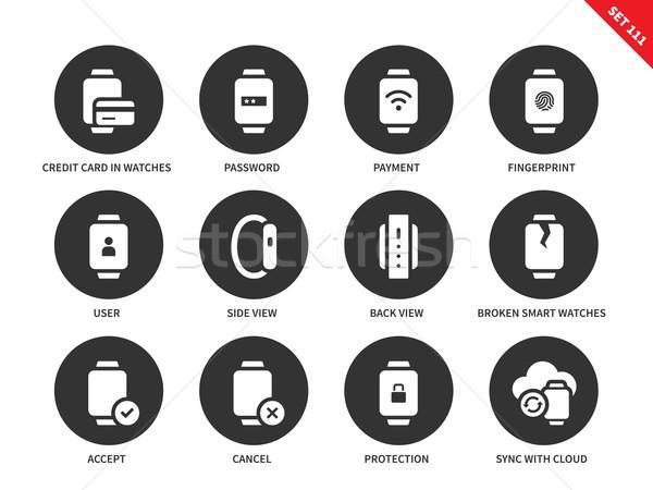 Business smartwatch icons on white background Stock photo © tkacchuk