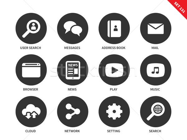 Webes ikonok fehér háló vektor ikon szett közösségi hálózatok Stock fotó © tkacchuk