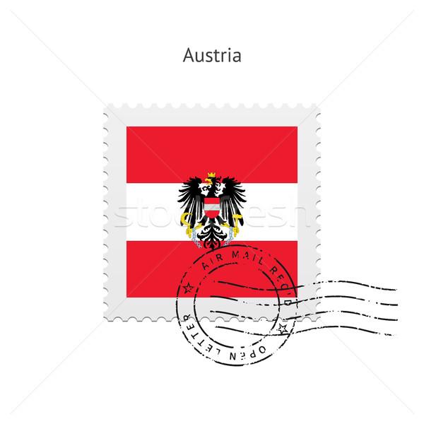 Ausztria zászló postabélyeg fehér felirat levél Stock fotó © tkacchuk