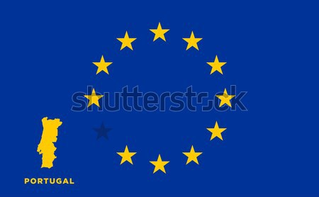 EU flag with Portugal country. European Union membership Portugal Stock photo © tkacchuk