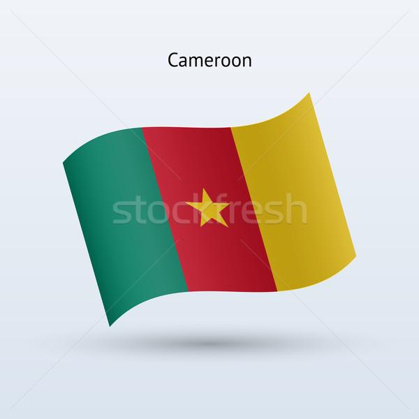 Kamerun banderą formularza szary podpisania Zdjęcia stock © tkacchuk