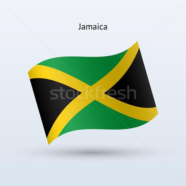 Jamaica vlag vorm grijs teken Stockfoto © tkacchuk