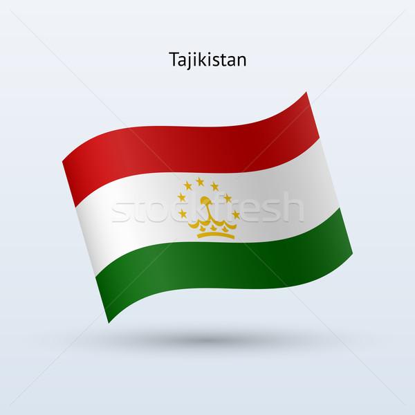 Tajikistan flag waving form. Vector illustration. Stock photo © tkacchuk