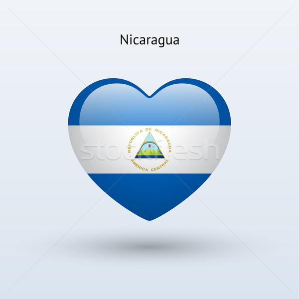 Szeretet Nicaragua szimbólum szív zászló ikon Stock fotó © tkacchuk