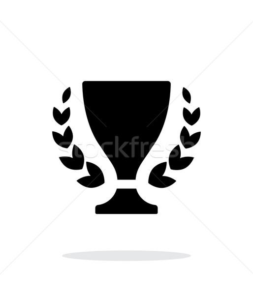 Stockfoto: Trofee · icon · witte · goud · lint