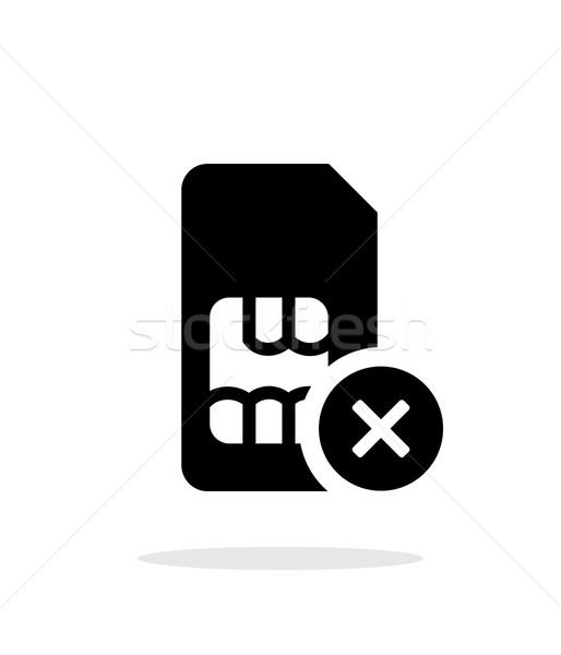 Cartão assinar simples ícone branco telefone Foto stock © tkacchuk