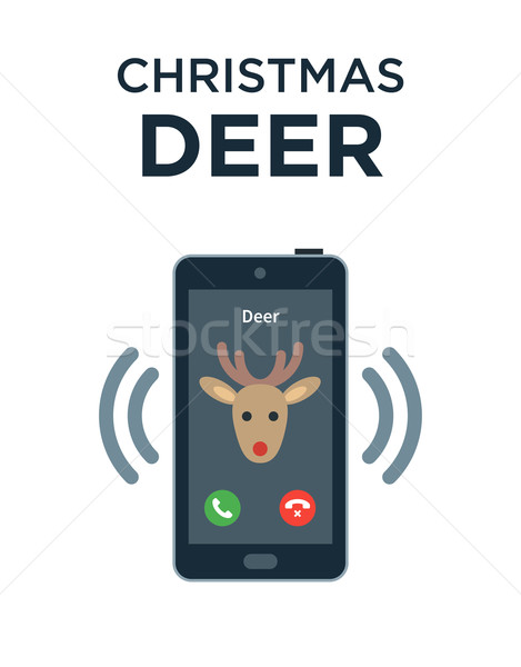 Concept of personalized phone call from Christmas Deer. Isolated on white Stock photo © tkacchuk