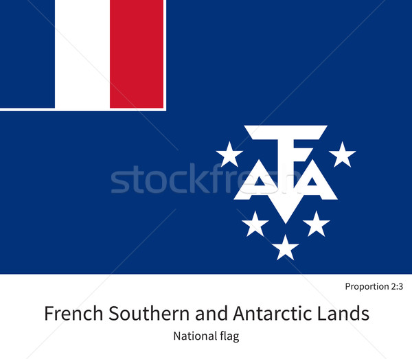National flag of French Southern and Antarctic Lands with correct proportions, element, colors Stock photo © tkacchuk
