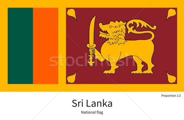 National flag of Sri Lanka with correct proportions, element, colors Stock photo © tkacchuk