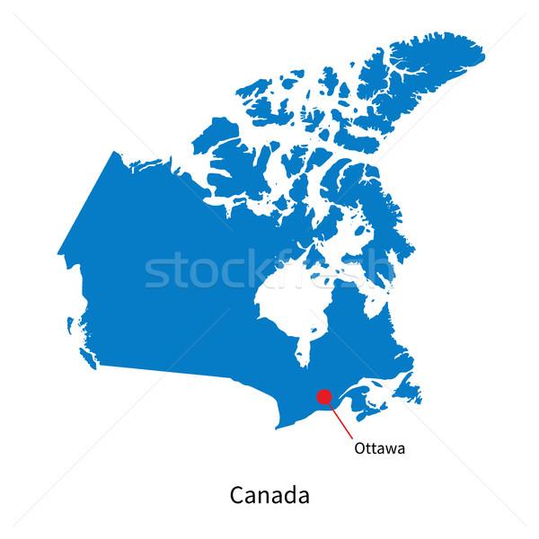 Detailed vector map of Canada and capital city Ottawa Stock photo © tkacchuk