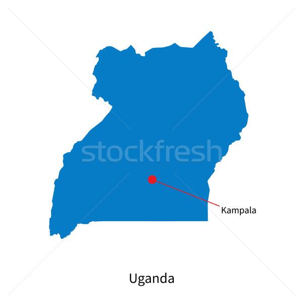 Dettagliato vettore mappa Uganda città terra Foto d'archivio © tkacchuk