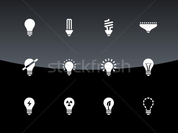 лампы иконки черный интернет веб Сток-фото © tkacchuk