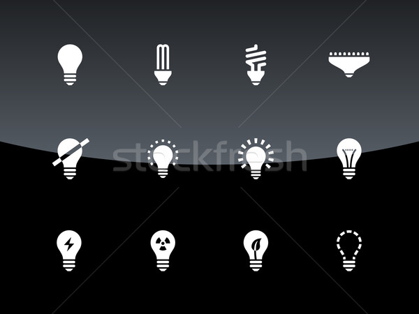 Gloeilamp lamp iconen zwarte internet web Stockfoto © tkacchuk