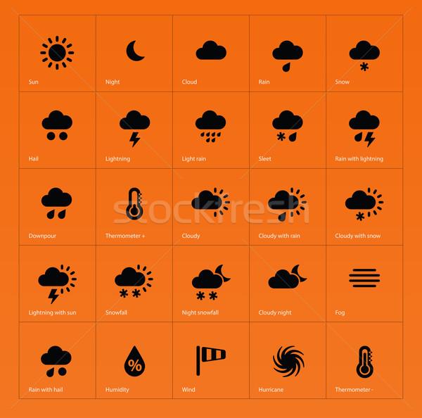 погода иконки оранжевый солнце дизайна снега Сток-фото © tkacchuk