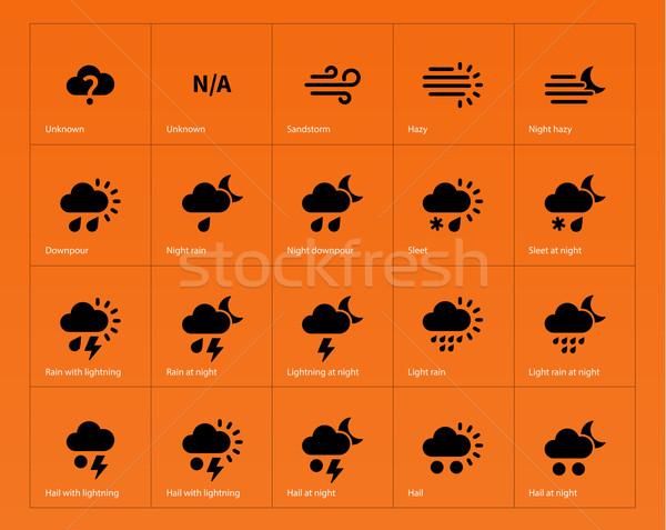 Weather icons on orange background. Stock photo © tkacchuk