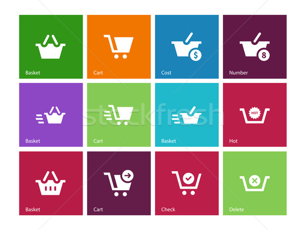 Checkout icons on color background. Stock photo © tkacchuk