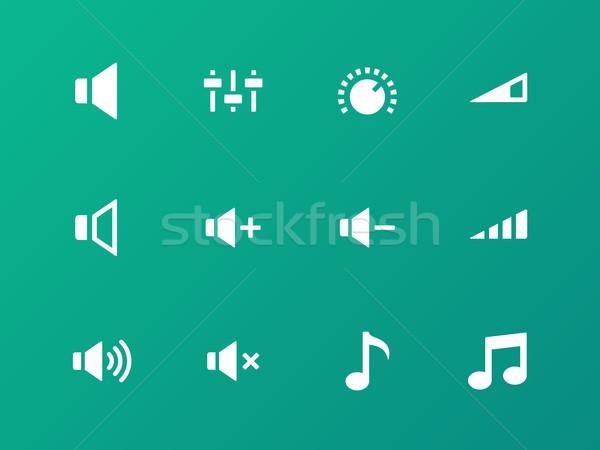 Foto stock: Alto-falante · ícones · verde · volume · controlar · computador